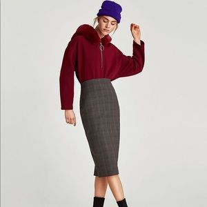 ZARA Plaid Pencil Skirt L